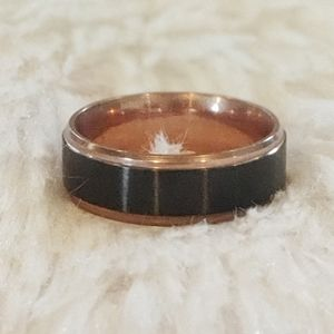 Mens Black and Rose Gold Ring Size 10